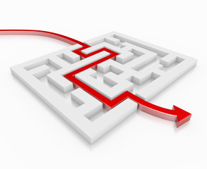 3D Red Arrow Leading Through A Maze