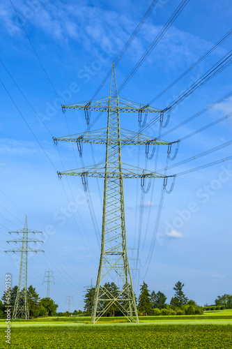 tower for electricity in rural landscape