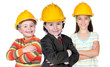 Three future construction workers