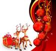 santa with red christmas balls