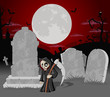 Halloween cemetery with tombs and cartoon death character