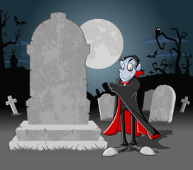 Halloween cemetery with tombs and cartoon vampire character