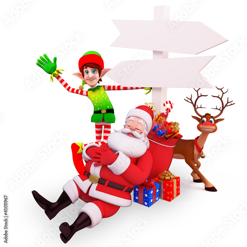 sleeping santa with elves, sign and reindeer