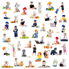 children or  babies playing professions isolated on white