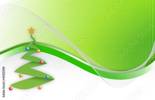 Christmas tree wave background illustration design
