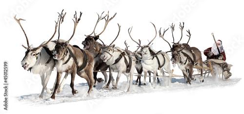 Leinwanddruck Bild Santa Claus in a sleigh