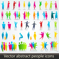 Set of colorful abstract people silhouettes