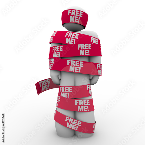 Free Me Words Man Wrapped Red Tape