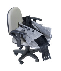 Houndstooth Jacket and Scarf on an Office Chair