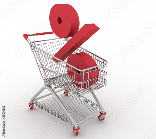 shopping cart with sign of percentage inwardly
