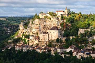 Rocamadour medieval village at sunrise, France