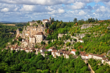 Rocamadour medieval village at sunrise, wide view, France