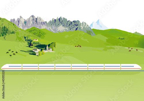 Schnellzug in einer Berglandschaft