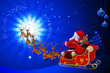 santa in his sleigh is going towards magic circle