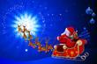 santa in his sleigh is going towards magic circle