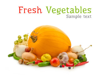 vegetables composition isolated on white background