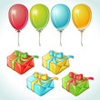 Set of colorful balloons and gifts with details.