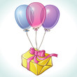Happy birthday card with balloons and gift isolated. Vector