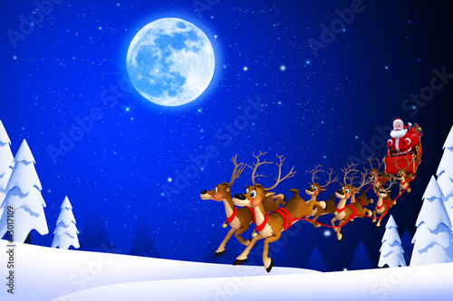 santa and his sleigh coming towards ice