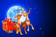 illustration of santa claus with two reindeers and sleigh