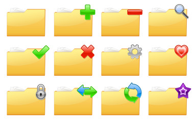 Yellow folder management and administration icons