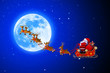 santa with his sleigh and moon
