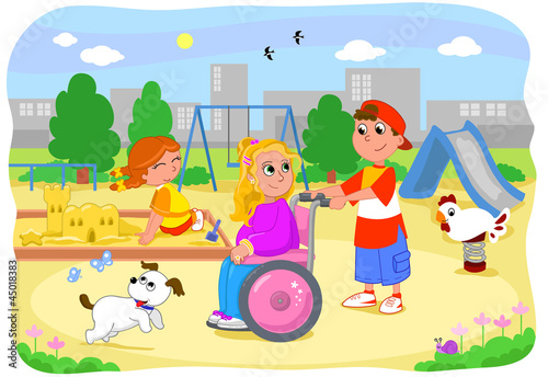 Pretty blond girl on wheelchair at the playground with friends