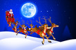 santa sitting in his sleigh coming towards us