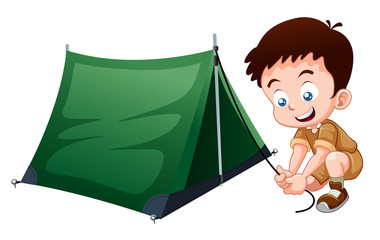 Boy scout with camping tent