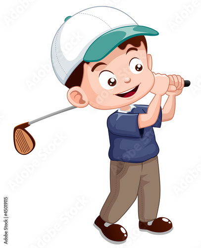 illustration of young golf player
