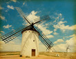 Retro image  of Medieval Windmills.   Castilla La Mancha, Spain.