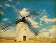 Retro image  of Medieval Windmills.   Castilla La Mancha, Spain.