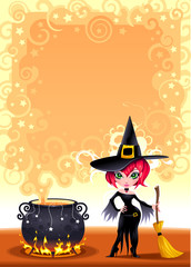 Funny witch with pot. Vector illustration.