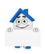 3D Haus mit Werbetafel - Blau