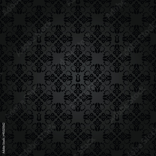 Seamless black small floral elements wallpaper pattern