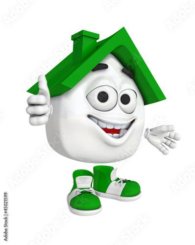 Kleines 3D Haus Rot - Daumen Grün