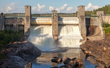 Hydroelectric power station dam in Imatra, Finland