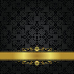 Seamless small black elements and gold ribbon cover