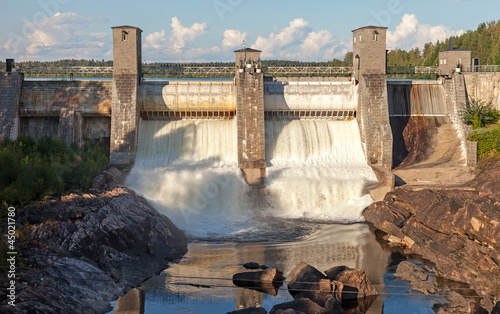 Hydroelectric power station dam in Imatra, Finland - 45021780