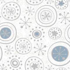niebieskie i szare płątki śniegu na białym tle