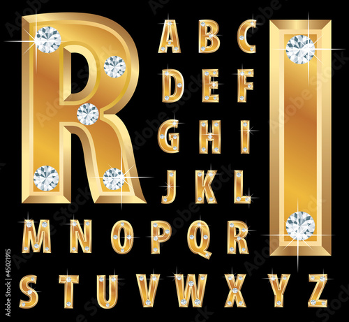 golden diamond letters