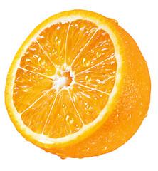 halbe Orange aufgeschnitten, weißer Hintergrund