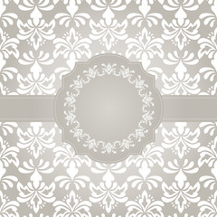 Vector Frame on Seamless Vintage Wallpaper Pattern