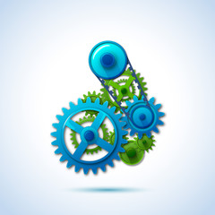 gears blue green