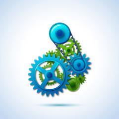 gears blue green