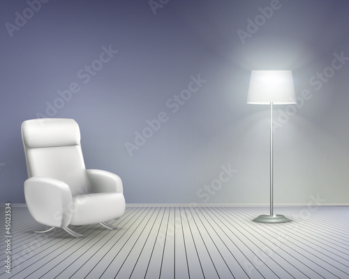 Room with chair.  Vector illustration.