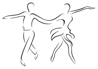 Illustration of couple dancing latin dance cha cha