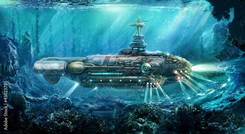 Leinwandbild Motiv Fantastic submarine