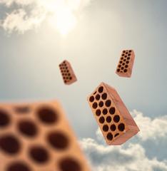 Blocks Flying In Air
