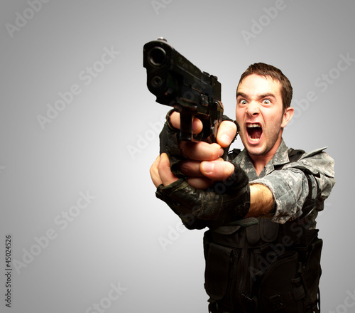 Angry Soldier Man With Gun
